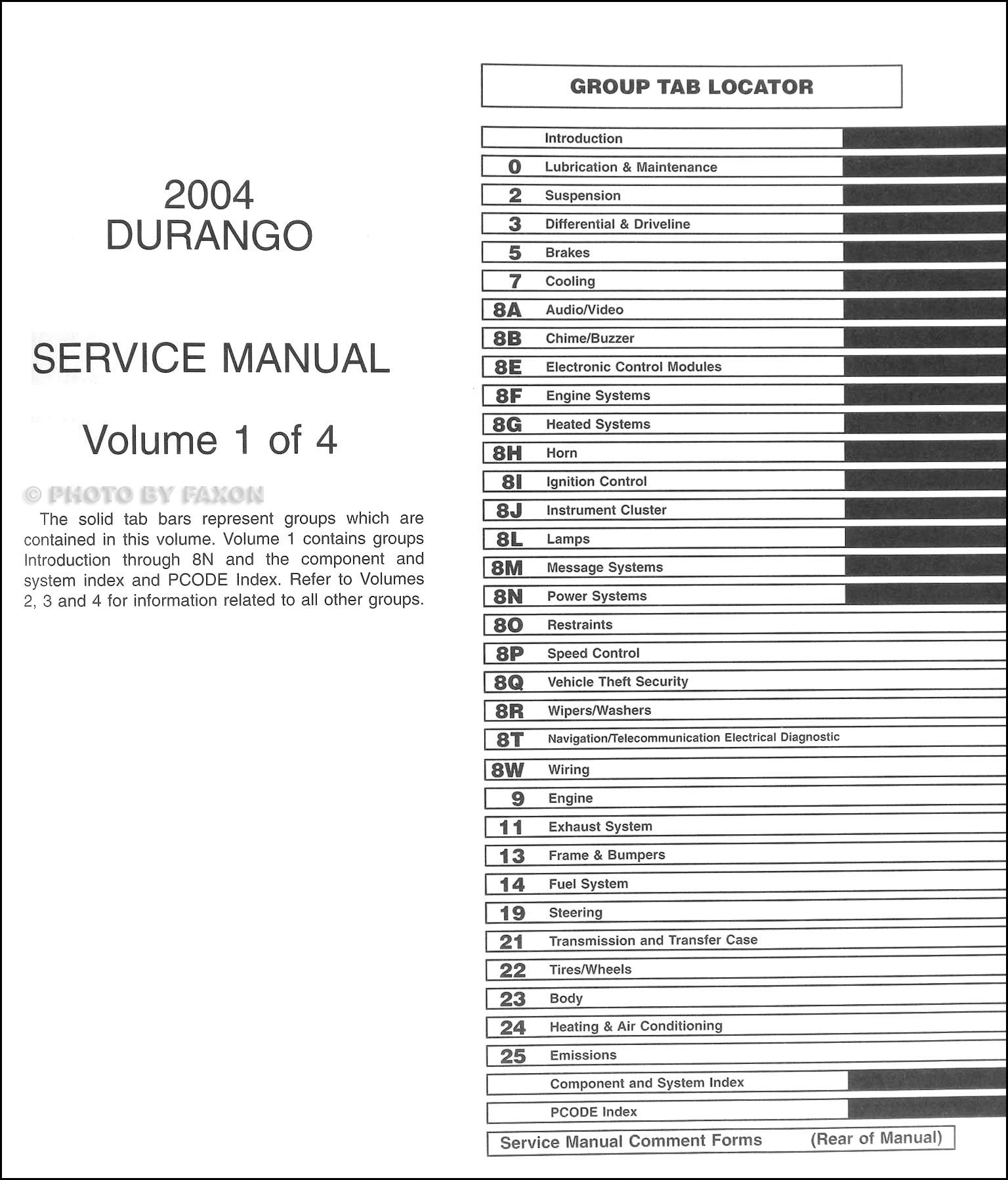 Dodge Durango Repair Shop Manual Original 4 Volume Set