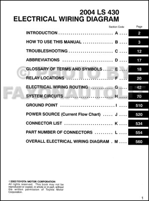 2004 Lexus LS 430 Wiring Diagram Manual Original