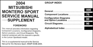 2004 Mitsubishi Montero Sport Wiring Diagram Manual Original