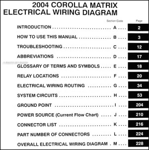 2004 Toyota Corolla Matrix Wiring Diagram Manual Original