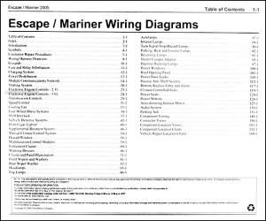 2005 Ford Escape & Mercury Mariner Wiring Diagram Manual