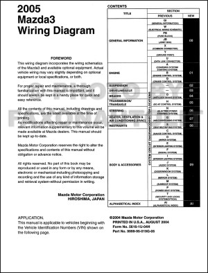 2005 Mazda 3 Wiring Diagram Manual Original