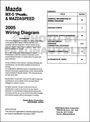 2005 Mazda MX5 Miata Mazdaspeed Wiring Diagram Manual Original