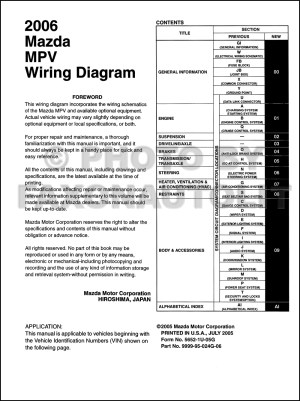 2006 Mazda MPV Wiring Diagram Manual Original