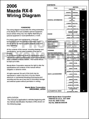 2006 Mazda RX8 Wiring Diagram Manual Original RX8