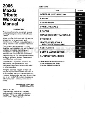 2006 Mazda Tribute Repair Shop Manual Original