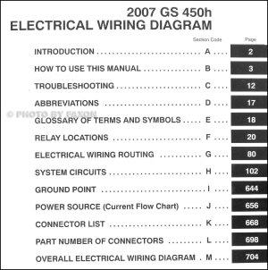 2007 Lexus GS 450H Wiring Diagram Manual Original