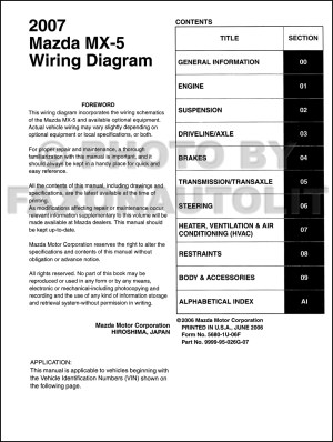 2007 Mazda MX5 Miata Wiring Diagram Manual Original