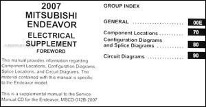 2007 Mitsubishi Endeavor Wiring Diagram Manual Original