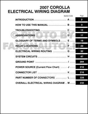 2007 Toyota Corolla Wiring Diagram Manual Original