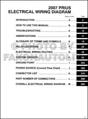 2007 Toyota Prius Wiring Diagram Manual Original