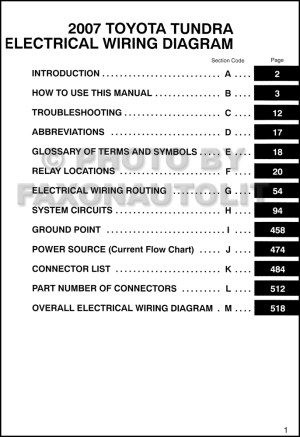 2007 Toyota Tundra Wiring Diagram Manual Original