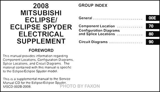 2008 Mitsubishi Eclipse & Spyder Wiring Diagram Manual