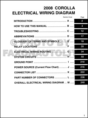 2008 Toyota Corolla Wiring Diagram Manual Original