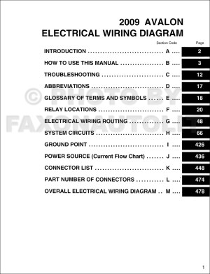 2009 Toyota Avalon Wiring Diagram Manual Original