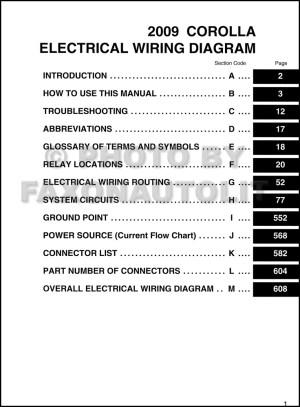 2009 Toyota Corolla Wiring Diagram Manual Original