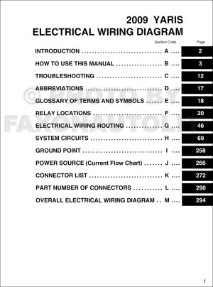 2009 Toyota Yaris Wiring Diagram Manual Original