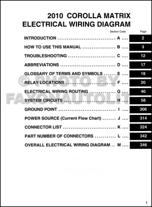 2010 Toyota Matrix Wiring Diagram Manual Original
