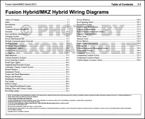 2012 HYBRID Ford Fusion Lincoln MKZ Wiring Diagram Manual
