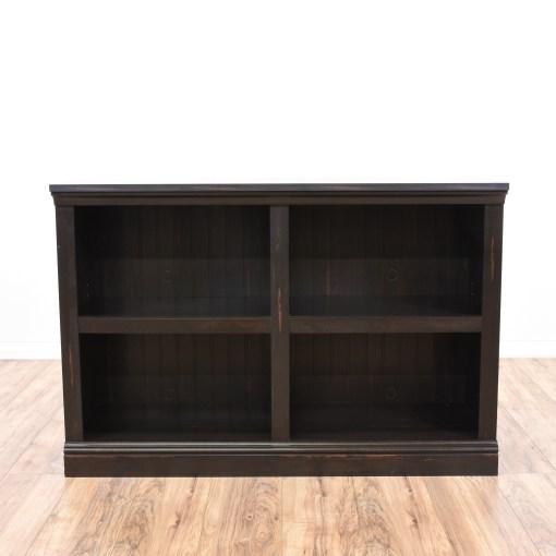 Dark Wood Low Bookcase