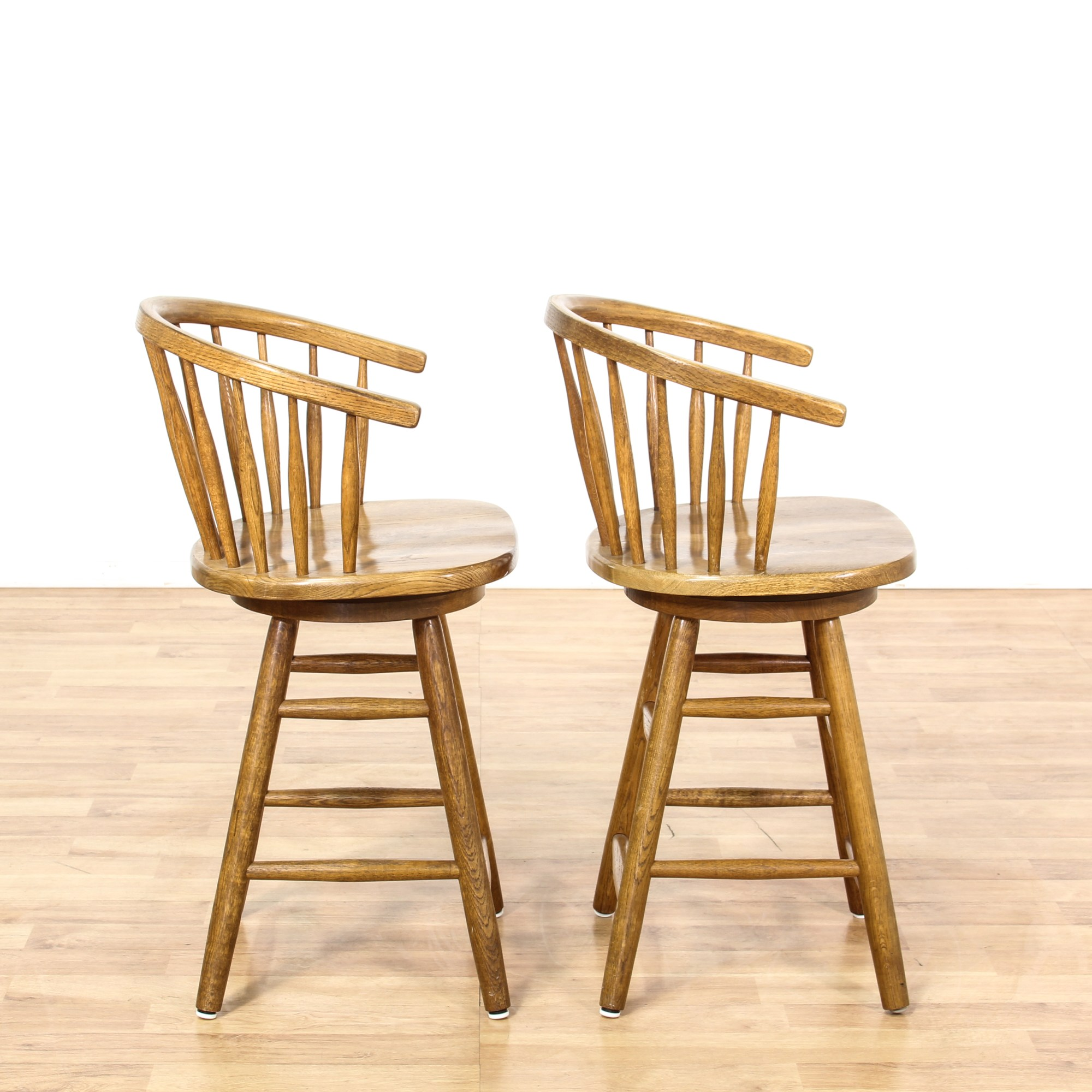 Pair Of Barrel Back Swivel Bar Stools Loveseat Vintage Furniture San Diego Amp Los Angeles