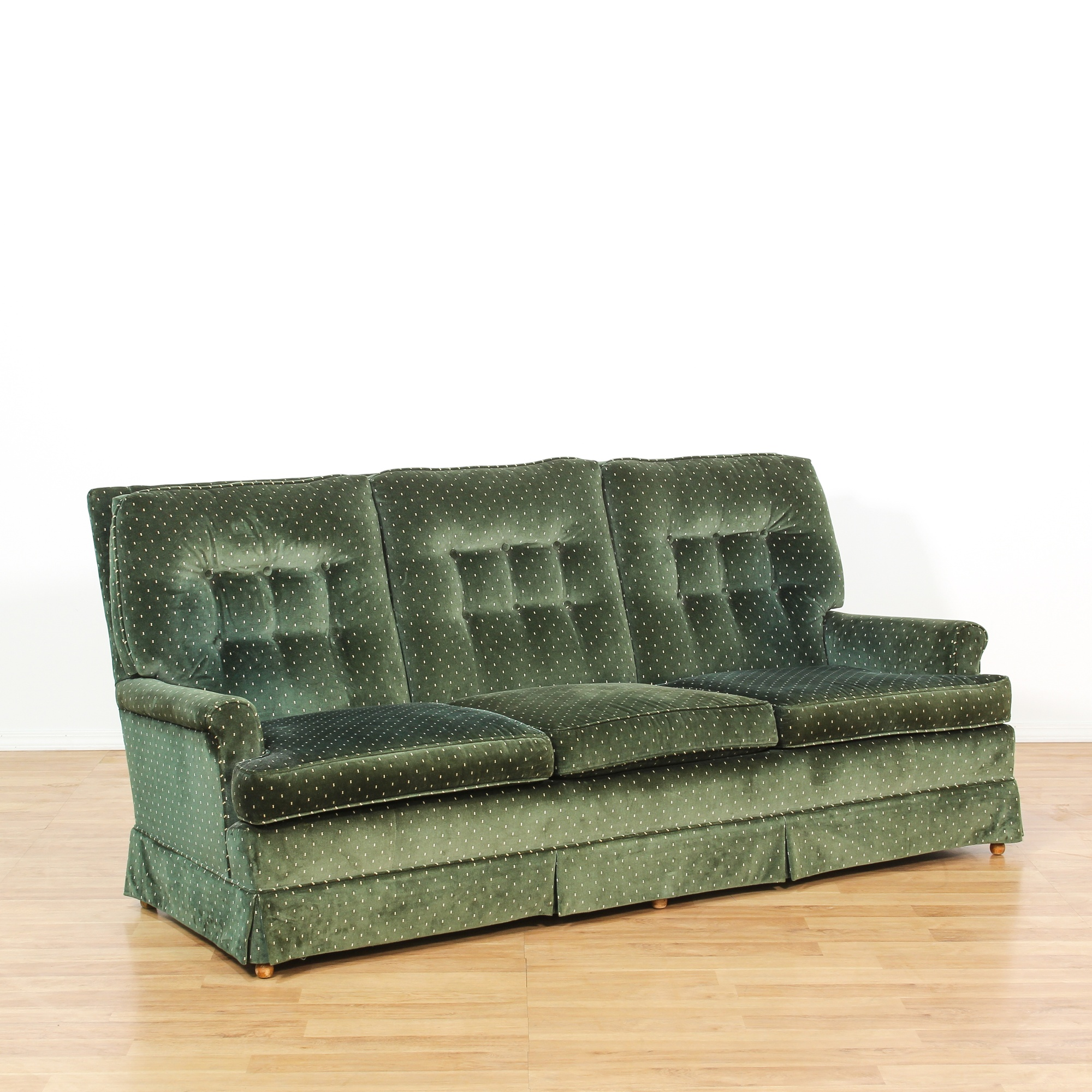Mid Century Green Velvet Tufted Sofa Loveseat Online Auctions Los Angeles