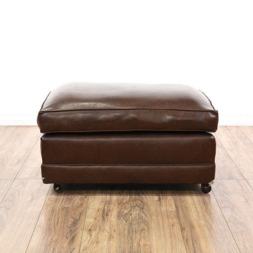 Brown Leather Look Vinyl Rolling Ottoman Loveseat