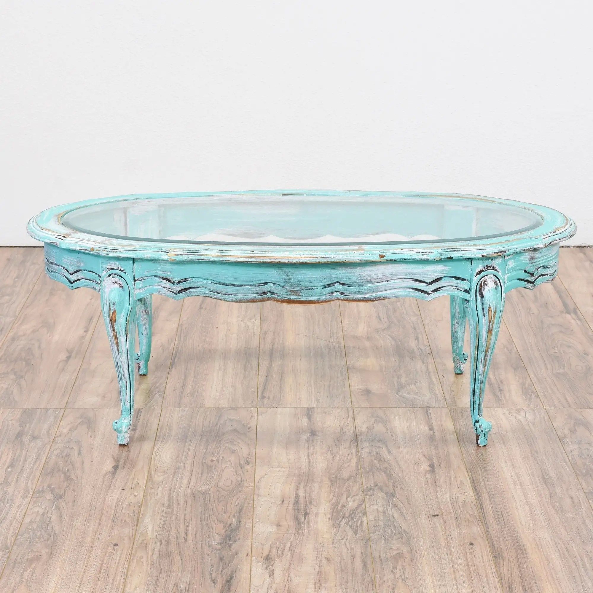 blue shabby chic oval coffee table