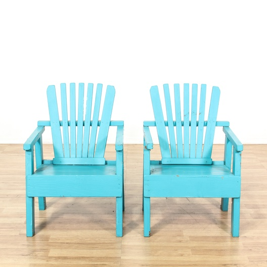 set of 2 turquoise wooden patio chairs loveseat com los angeles