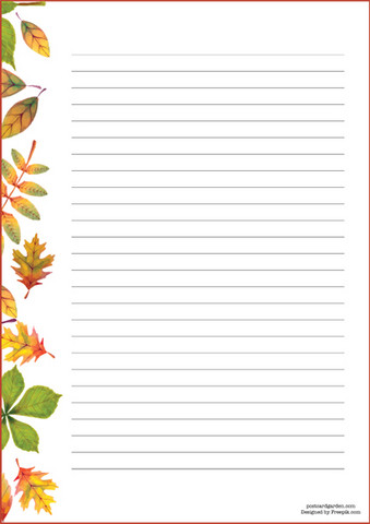 Autumn Leaves Writing Papers A4 10s Lined Postcard