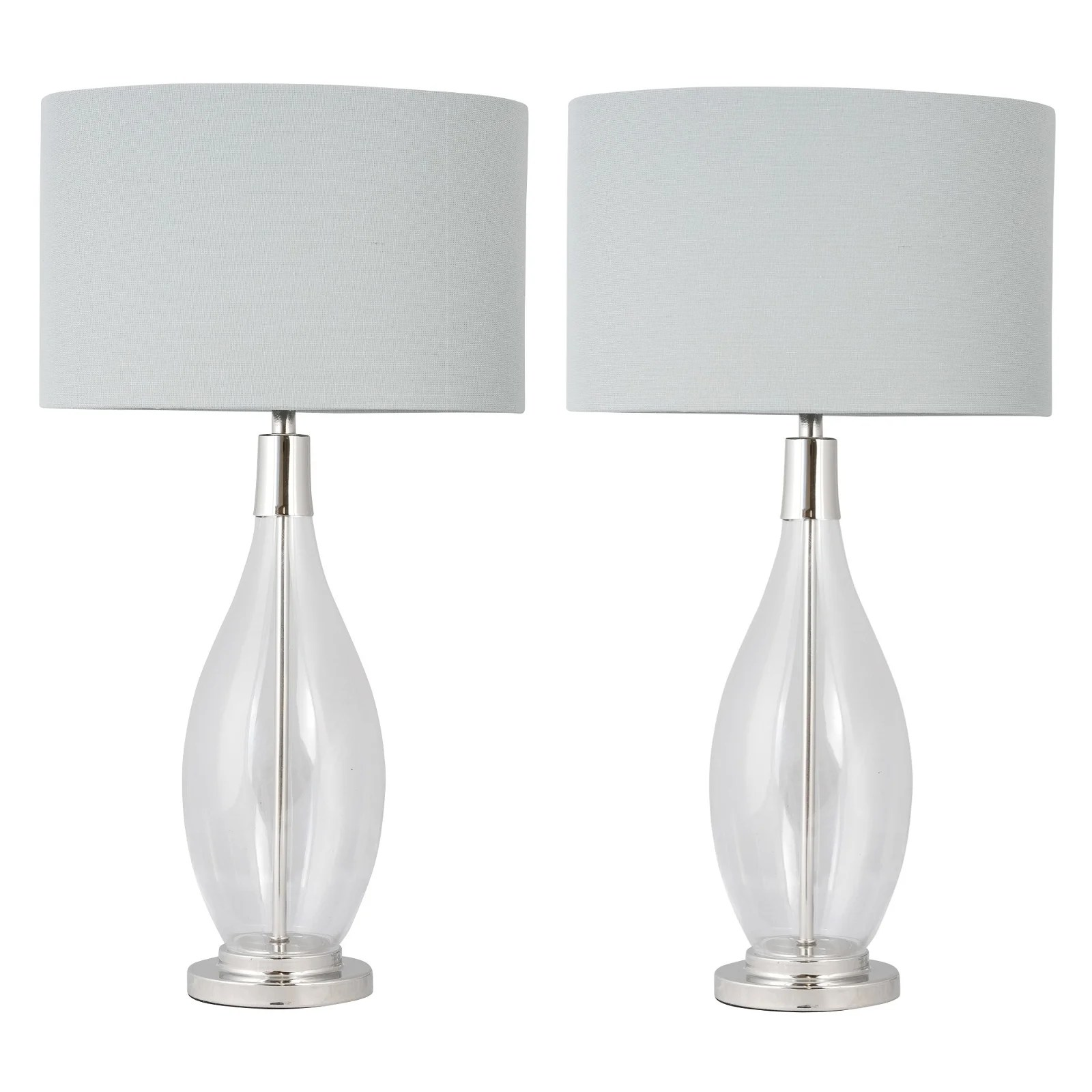 Lana Clear Glass Table Lamp With Oval Grey Linen Shade