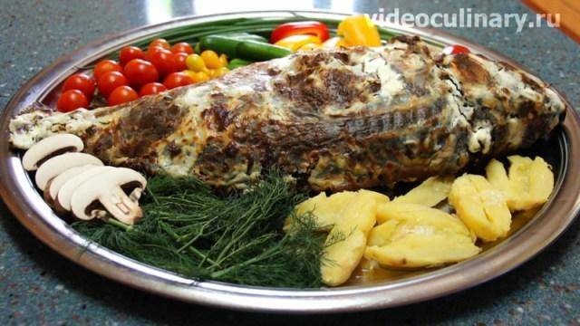 Рыба, запеченная в духовке по-польски еда, кухня, рыбные блюда