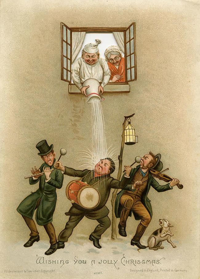 Рождественские открытки Викторианской эпохи, которые такие же жуткие как и то время жуть, открытки