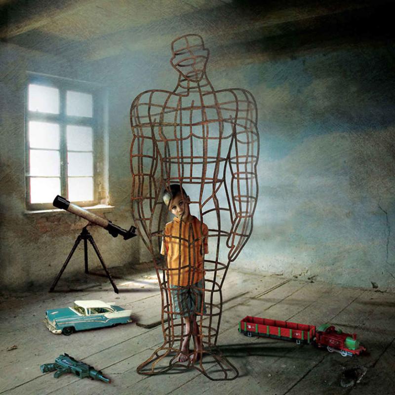 8. Мальчик внутри мужчины иллюстрация, общество, порок, сюрреализм