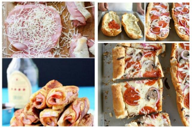 Бутерброды - отличная вещь! Ветчину завернули в кусочки хлеба, завернули, обмакнули в яйцо, обжарили. Есть батон - вытащили сердцевину - засыпали соус, томаты, лук, сыр, зелень - в духовку его Просто, вкусно, еда, завтраки