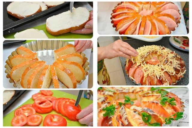 А кому надо сразу много бутербродов? Мажете маслом (или любым соусом), выкладываете по кругу, внутрь томаты, ветчину, заливаете омлет и посыпаете сыр, запекаете Просто, вкусно, еда, завтраки
