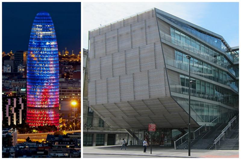 Небоскреб Agbar Tower в Барселоне и здание городского муниципалитета в Бильбао архитектура, интересное, испания