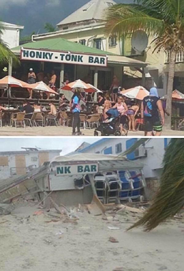 """Популярный бар """"Хонки-тонк"""" в Филипсбурге, остров Сен-Мартен, до и после урагана Центральная Америка, ирма, катастрофа, разрушения, стихийное бедствие, стихия, ураган, флорида"""