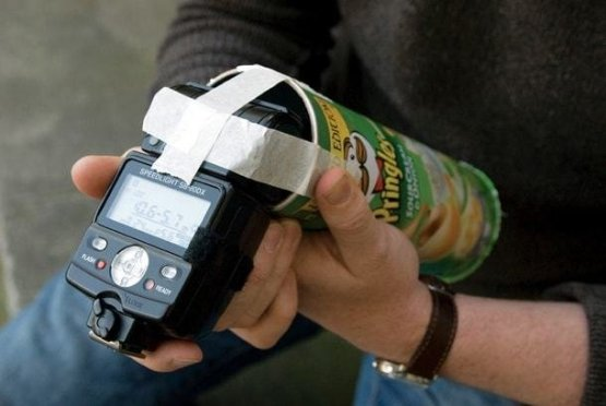 5. Студийный эффект: тубус на вспышку из пачки чипсов идеи, интересно, камера, полезно, советы, трюки, фото, фотоаппарат