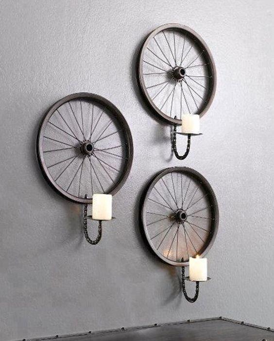 11. Оригинальныйб бра велосипед, интересно, колесо, очумелые ручки, своими руками, фото