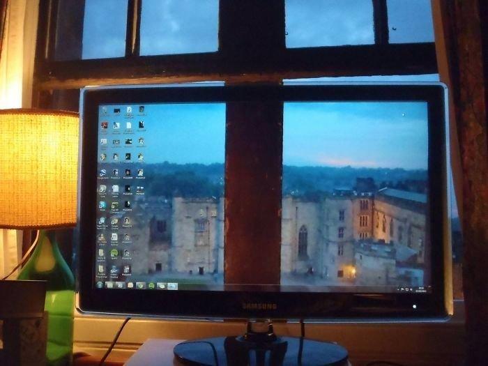 Вид из окна  заставка, идея, монитор, обои, подборка, рабочий стол, фон, фотография