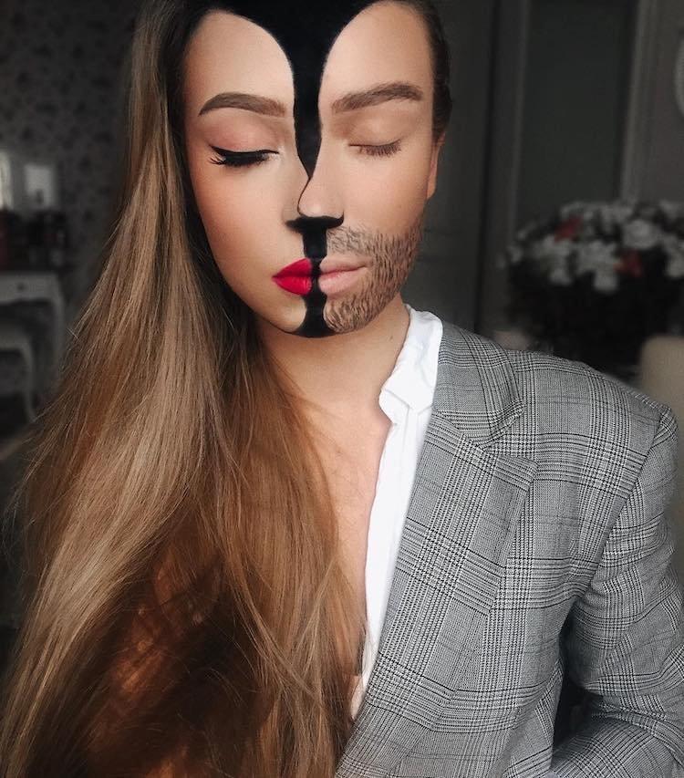 Заинтригованная учебными пособиями по спецэффектам, увидеными в YouTube и Instagram, она попыталась воспроизвести их на себе Моника Фальчик, визажист, грим, иллюзия, красота, люди, макияж, художник