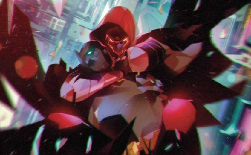Red Hood chokes out the Next Batman from behind.