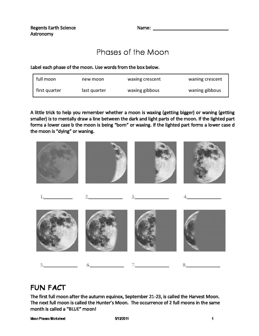 Diagram Of The Moon Phases To Print Phase