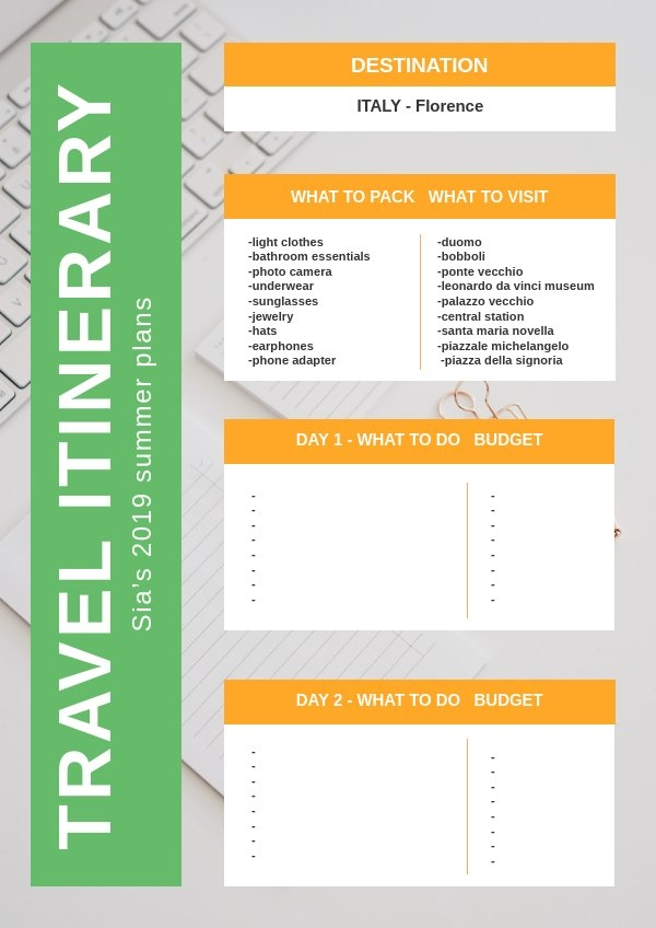 Free Travel Itinerary Template Flipsnack