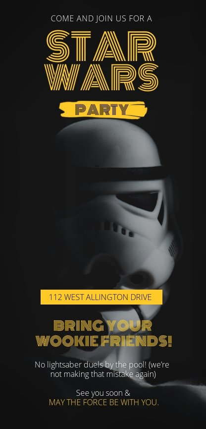 editable star wars party invitation