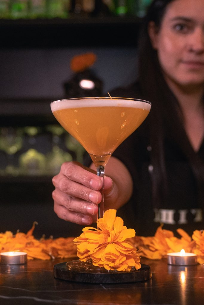 Cempasúchil Mezcal Miter Cocktail Day of the Dead