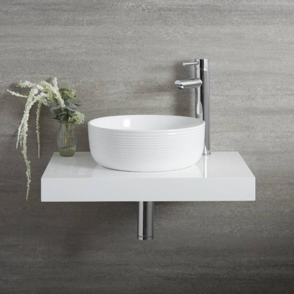 Vasque A Poser Ronde Moderne Bord Cannele Blanc O 36 Cm Non Percee Sphere