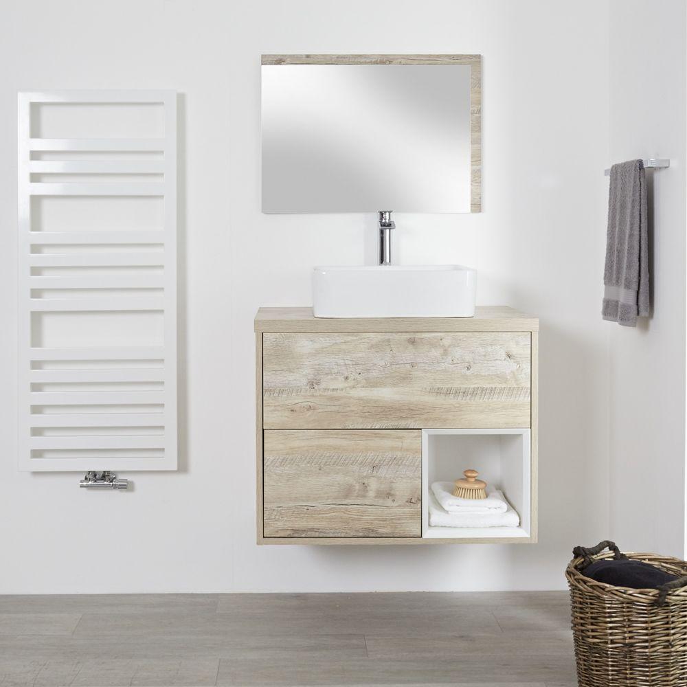 meuble salle de bain chene clair avec vasque a poser 80cm 2 tiroirs