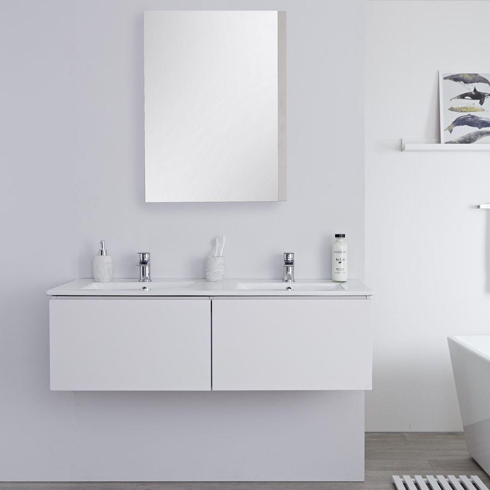 meuble double vasque 120cm newington blanc mat